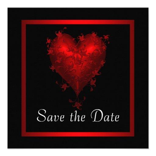 Reserva roja negra del corazón el boda de la fecha comunicados personales