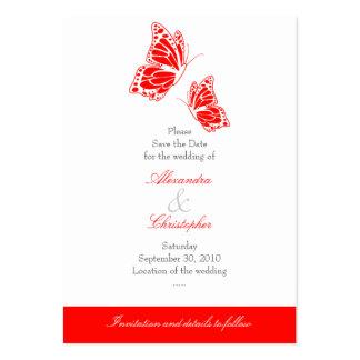 Reserva roja simple de la mariposa el casarse de tarjetas de visita grandes
