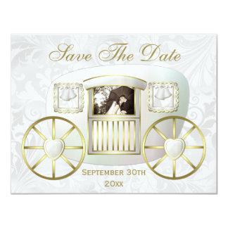 Reserva romántica del carro del boda de la foto la invitación 10,8 x 13,9 cm