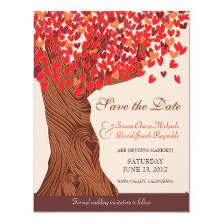 Reserva romántica del roble del amor del otoño la invitación 10,8 x 13,9 cm