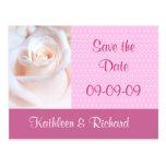 Reserva romántica del rosa la postal de la fecha