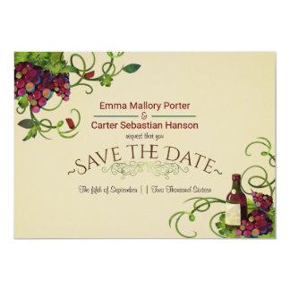 Reserva romántica del viñedo del vino del verano invitación 12,7 x 17,8 cm