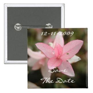 Reserva rosada de la flor la fecha chapa cuadrada 5 cm