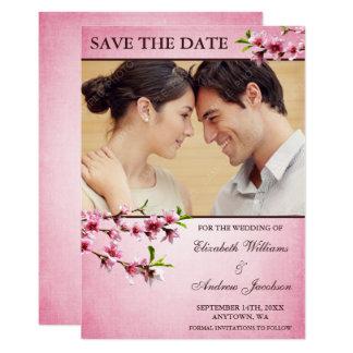 Reserva rosada de la foto del vintage de las invitación 12,7 x 17,8 cm