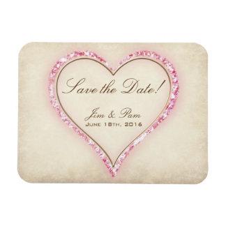 Reserva rosada del boda del corazón de la flor la iman