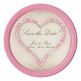 Reserva rosada del boda del corazón de la flor la juego de fichas de póquer