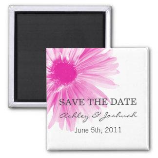 Reserva rosada del boda del diseño floral los imán cuadrado