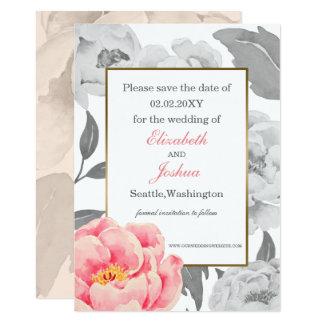 Reserva rosada del boda del Peony la fecha Invitación 12,7 X 17,8 Cm
