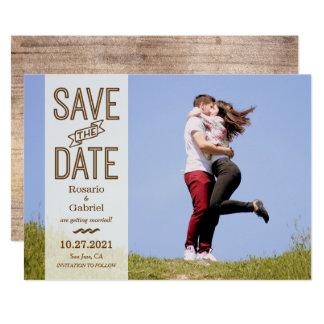 Reserva rústica de la foto de la tipografía del invitación 12,7 x 17,8 cm