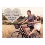 Reserva rústica de la foto del vintage del corazón tarjeta postal