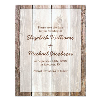 Reserva rústica de madera del granero la fecha invitación 10,8 x 13,9 cm