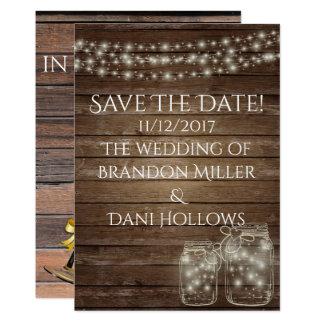 reserva rústica de madera la fecha invitación 12,7 x 17,8 cm
