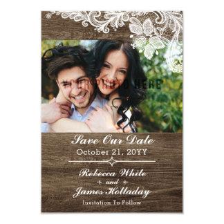 Reserva rústica de madera y del boda del cordón invitación 8,9 x 12,7 cm