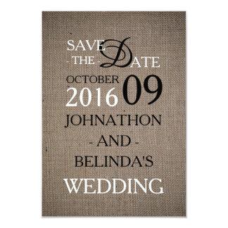 Reserva rústica del boda de la arpillera la fecha invitación 8,9 x 12,7 cm