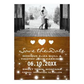 Reserva rústica del boda de los corazones y de las invitación 13,9 x 19,0 cm