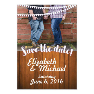 Reserva rústica del boda la plantilla de la fecha invitación 8,9 x 12,7 cm