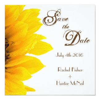 Reserva rústica del girasol la fecha invitación 13,3 cm x 13,3cm