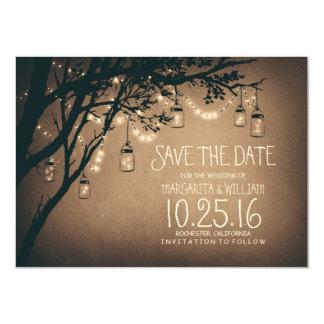 Reserva rústica la fecha y los tarros de albañil invitación 11,4 x 15,8 cm
