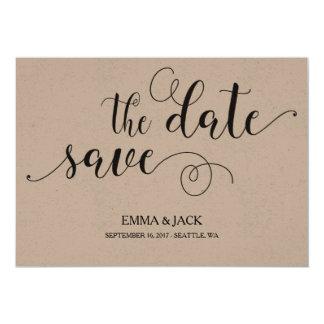 Reserva rústica la tarjeta de fecha - caligrafía