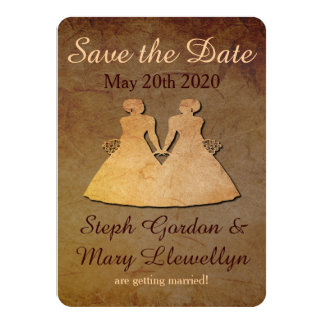Reserva rústica oscura el boda lesbiano de la invitación 11,4 x 15,8 cm