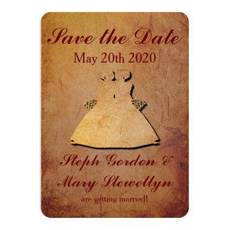 Reserva rústica roja el boda lesbiano de la invitación 11,4 x 15,8 cm