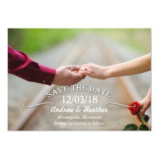 Reserva simple del boda del remolino la fecha invitación 12,7 x 17,8 cm