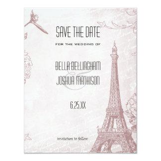 Reserva subió vintage de la torre Eiffel la fecha Invitación 10,8 X 13,9 Cm