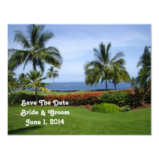 Reserva tropical de la playa la tarjeta de fecha invitación 10,8 x 13,9 cm