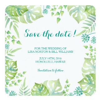 Reserva tropical del boda de la acuarela de las invitación 13,3 cm x 13,3cm