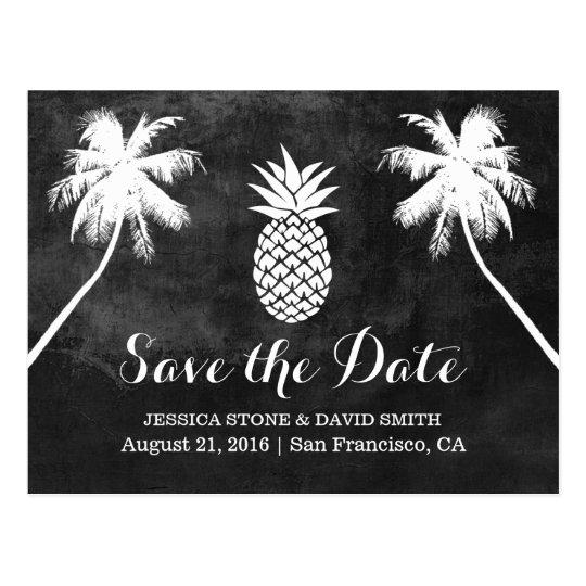 Reserva tropical del boda de la palmera de la piña postal
