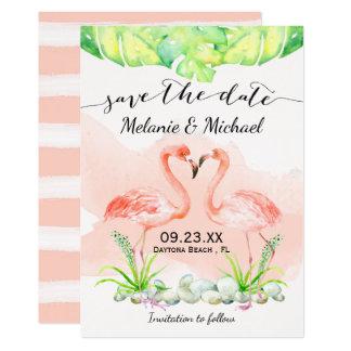 Reserva tropical del flamenco rosado de la invitación 12,7 x 17,8 cm