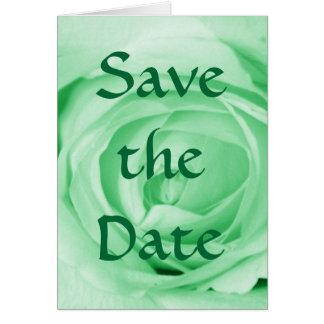 Reserva verde clara la fecha tarjeta de felicitación