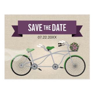 Reserva verde en tándem del boda de la bicicleta postal