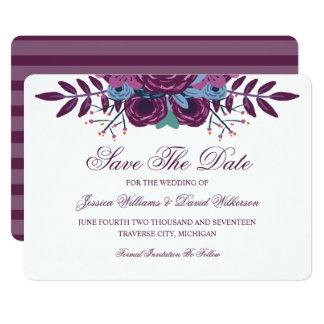 Reserva violeta de la acuarela las invitaciones de invitación 12,7 x 17,8 cm