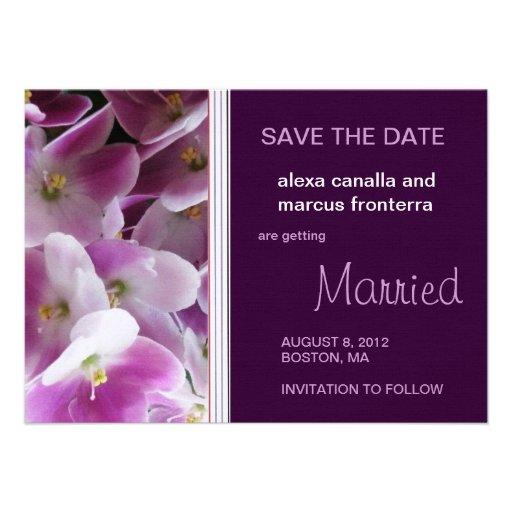 Reserva violeta púrpura del boda la tarjeta de fec anuncios
