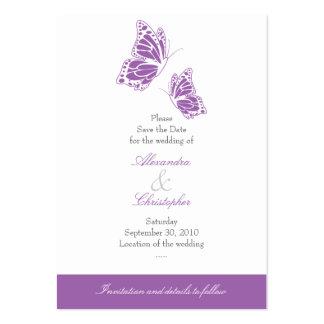 Reserva violeta simple de la mariposa el casarse tarjetas de visita grandes
