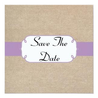Reserva violeta y beige del vintage de la invitación 13,3 cm x 13,3cm