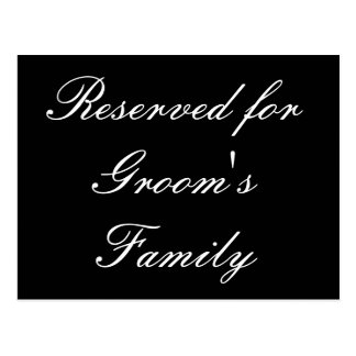 Reservado para la familia del novio postal