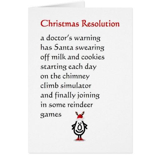 Resolución del navidad - un poema divertido del na felicitaciones