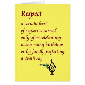 Respecto - un poema divertido del cumpleaños felicitaciones