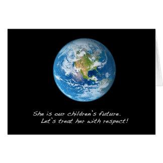 Respete la tierra tarjeta de felicitación