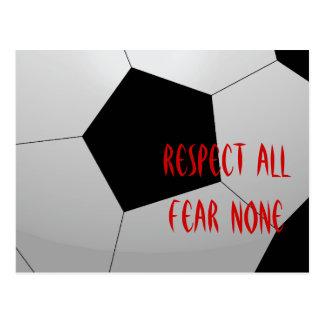 Respete todos, miedo ningunos balón de fútbol tarjetas postales