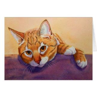 Respetos del gato de Tabby Tarjeta De Felicitación