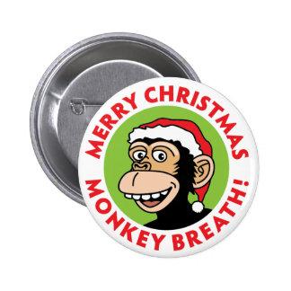 Respiración del mono de las Felices Navidad Chapa Redonda 5 Cm