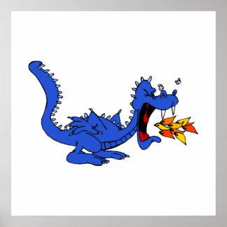 Respiradero azul del fuego del dragón posters