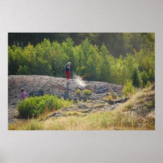 Respiradero caliente del fuego de mina poster
