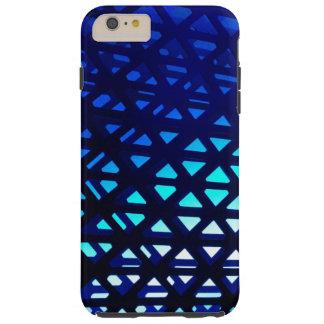 Resplandor azul del modelo geométrico abstracto funda de iPhone 6 plus tough
