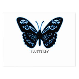 Resplandor azul negro de Flutterby Postal