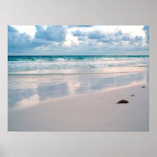 Resplandor del rosa en una playa de la puesta del  posters