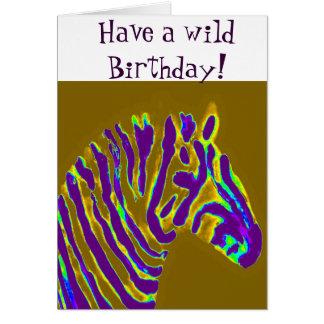 Resplandor púrpura de la cebra tarjeta de felicitación